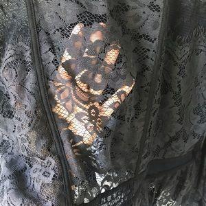 Free People Tops - Free People Black Sheer Lace Penelope Peplum Top L